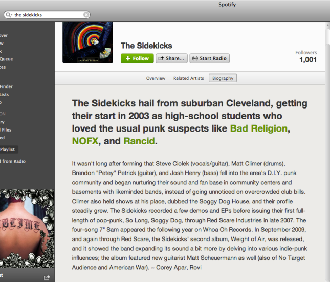 Spotify The Sidekicks bio