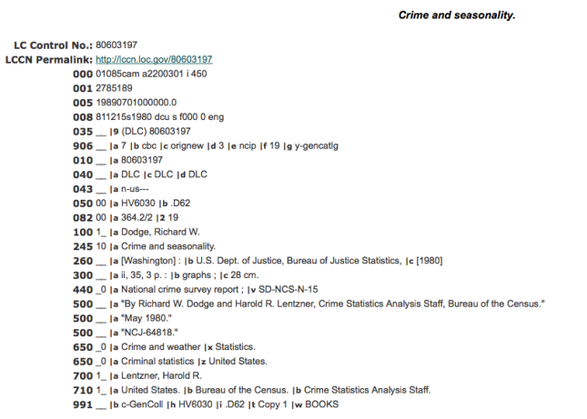 LC Catalog crime and weather--statistics MARC record screenshot